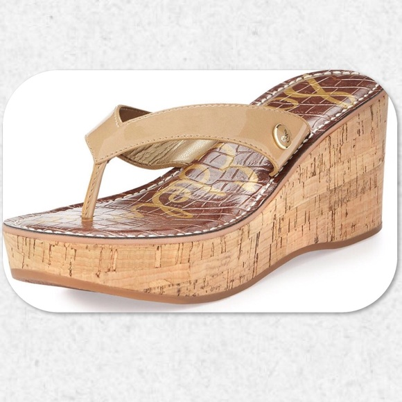 21d11e164da7 Sam Edelman Romy Patent Platform Wedge Sandals. M 5b10088405f4309469001984